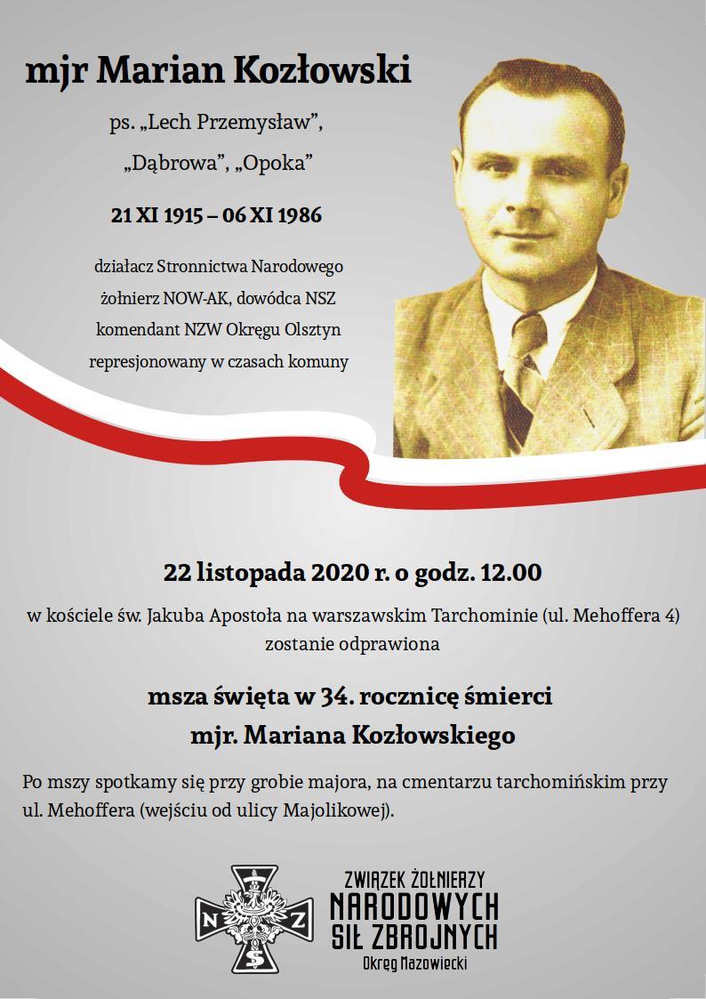 Zaproszenie na 34. rocznicę śmierci mjra Kozłowskiego